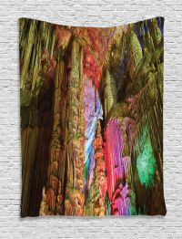 Geological Cistern Cave with Colorful Lights Nature Image ...