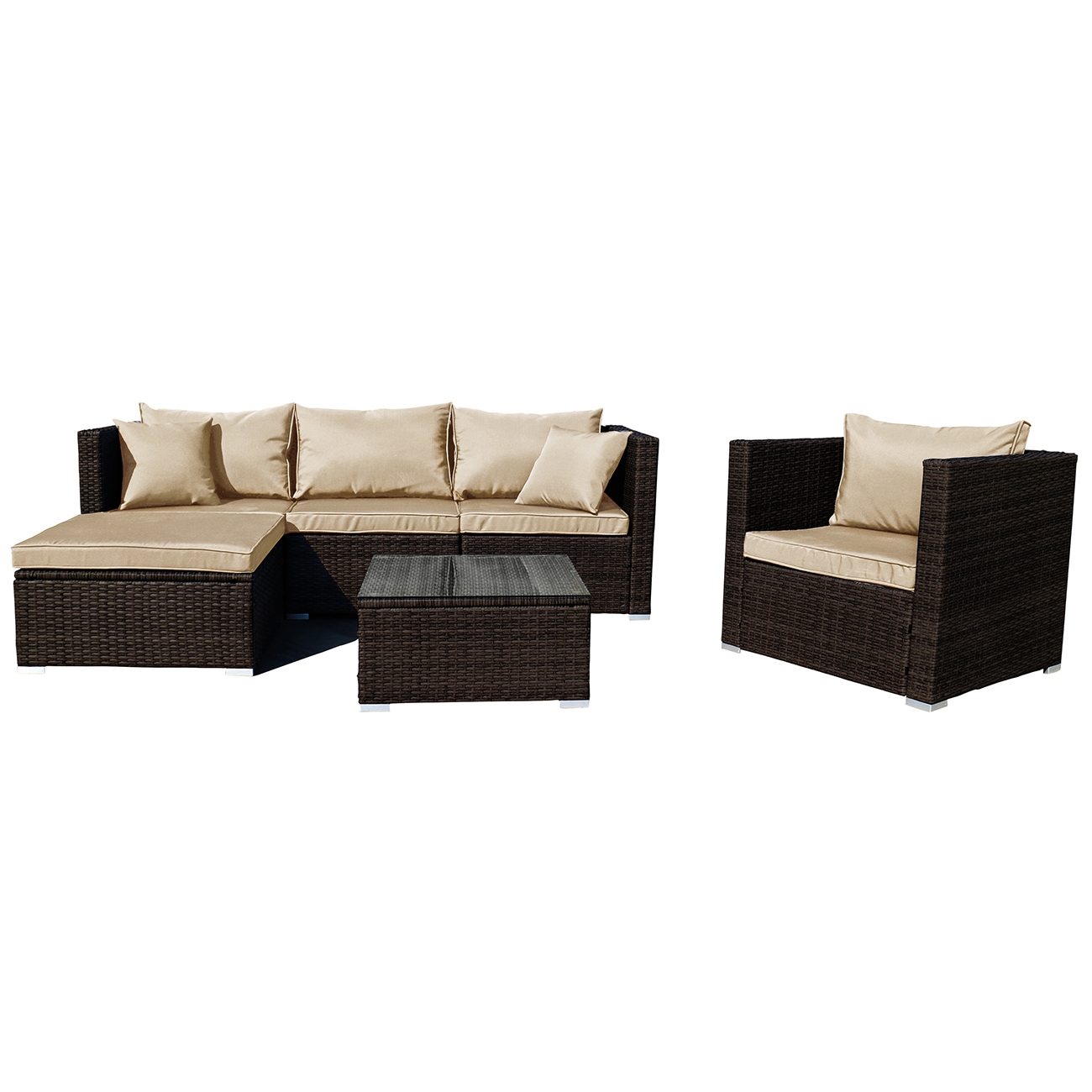 Outdoor Couch Set 6pc Outdoor Patio Furniture Rattan Wicker Sectional Sofa