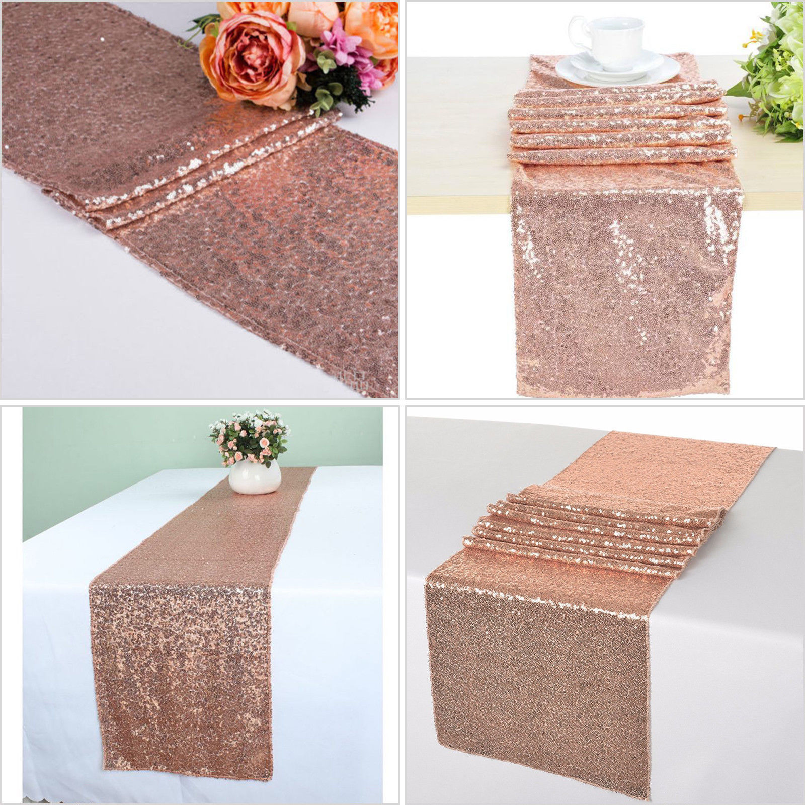 Details About Sequin Table Runner Rose Gold Silver Champagne Tablecloth Wedding Party Decor