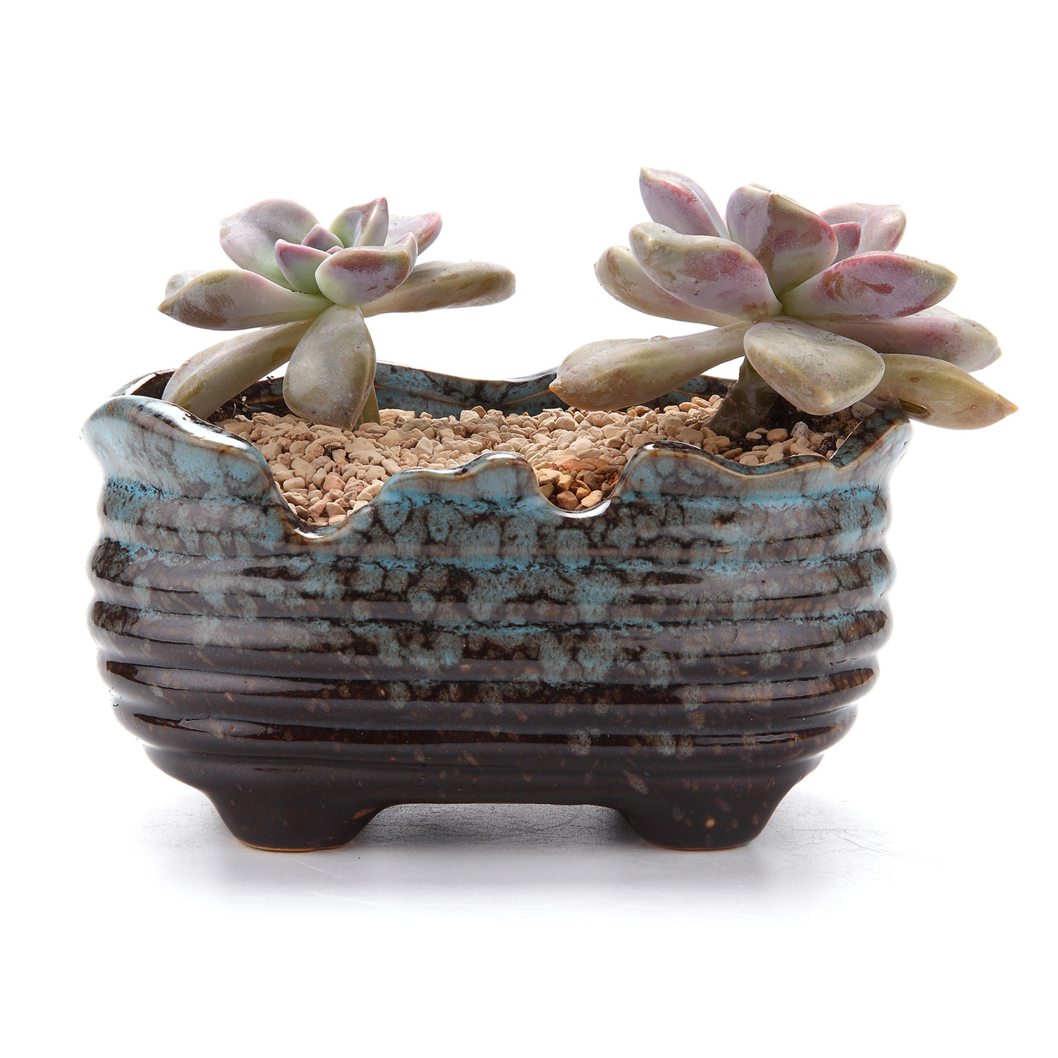 Cactus Planters Pottery T4u 10 14cm Air Bubble Glaze Square Ceramic Succulent