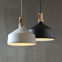 Contemporary Pendant Light Funnel Wooden Ceiling lighting ...