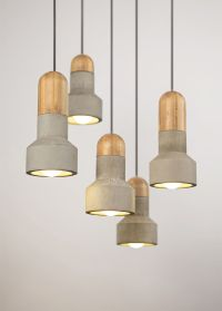 Light Concrete Pendant Ceiling Timber Lamp Lighting ...