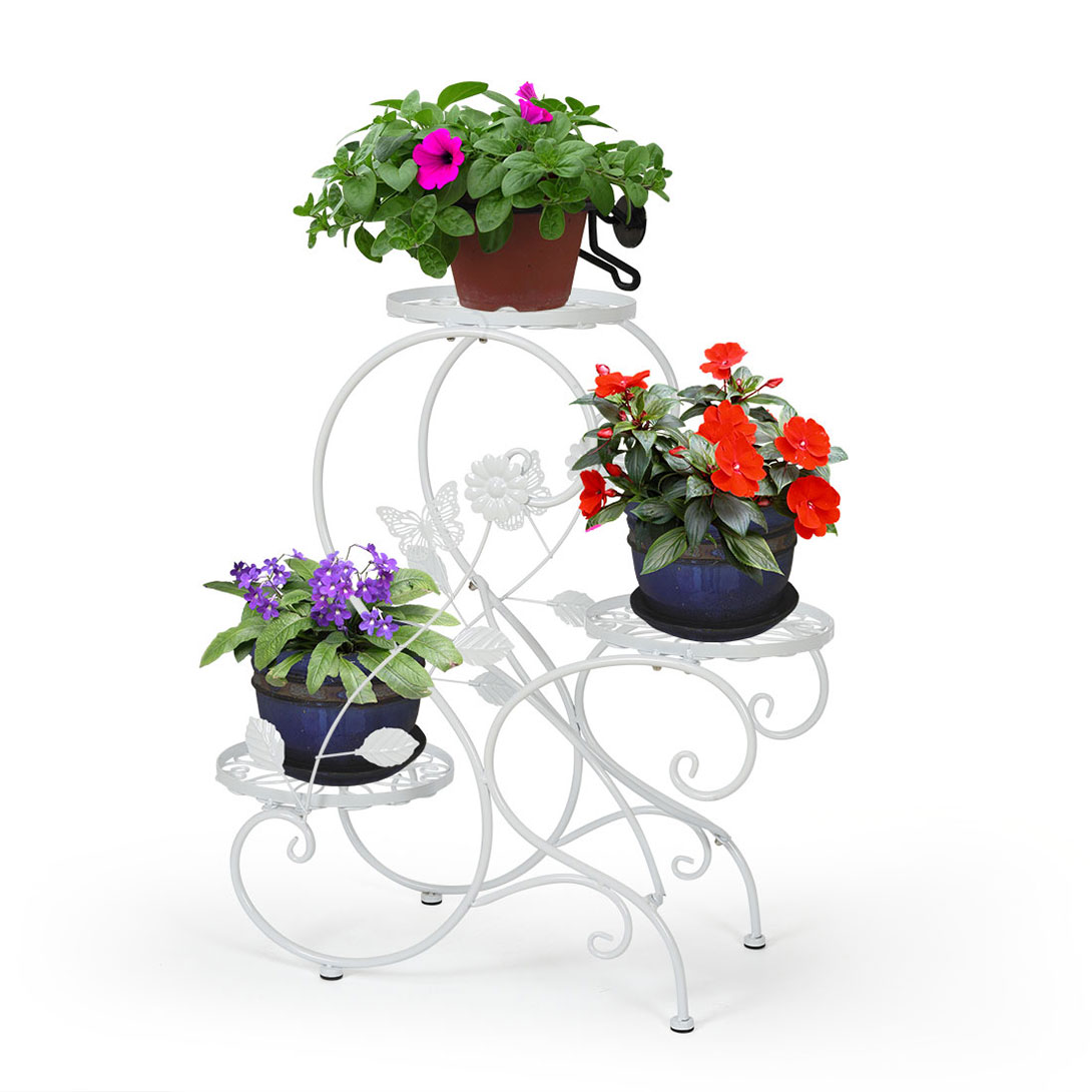 Three Tier Flower Pots 3 Tier Metal Plant Stand Flower Pot Display Holder Rack