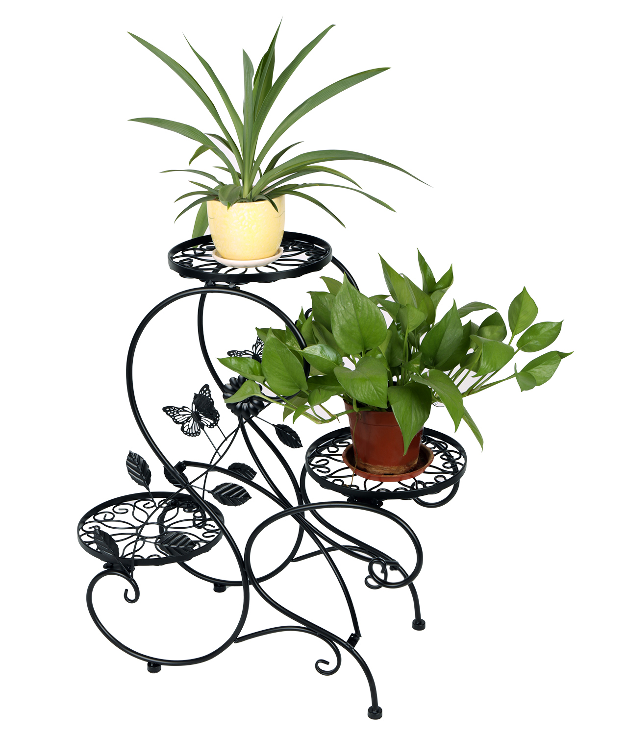 Three Tier Flower Pots 3 Tier Metal Garden Plant Stand Flower Pot Display Rack