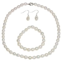 Cultured Freshwater White Pearl Necklace Bracelet ...