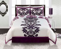 Purple White Black Damask TWN FULL/QUEEN KING Comforter ...