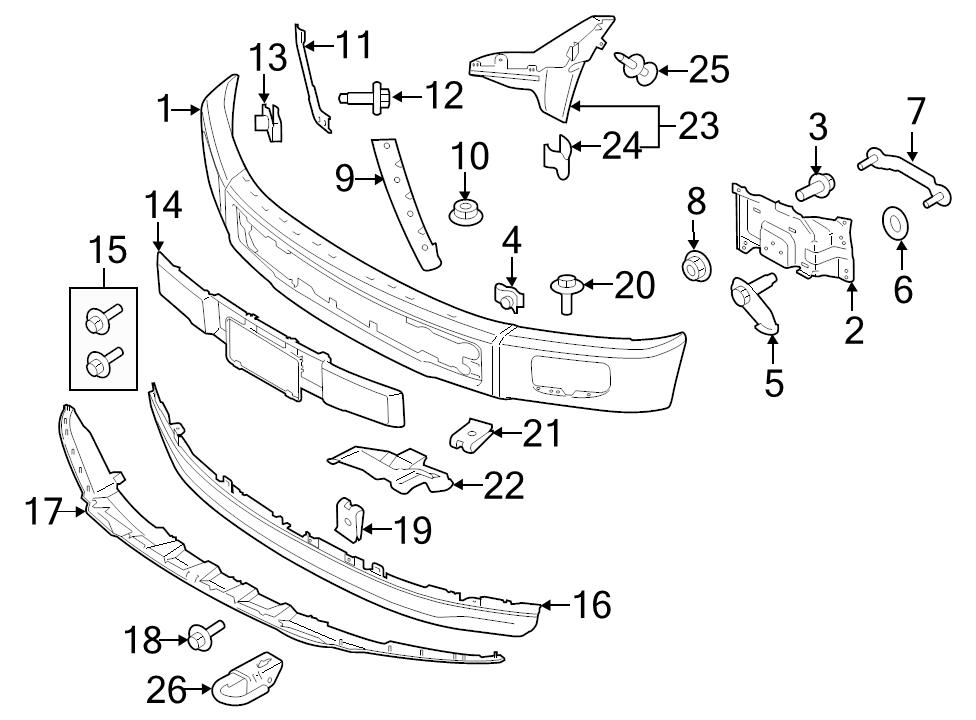 ford f150 diagram for front end bumpers