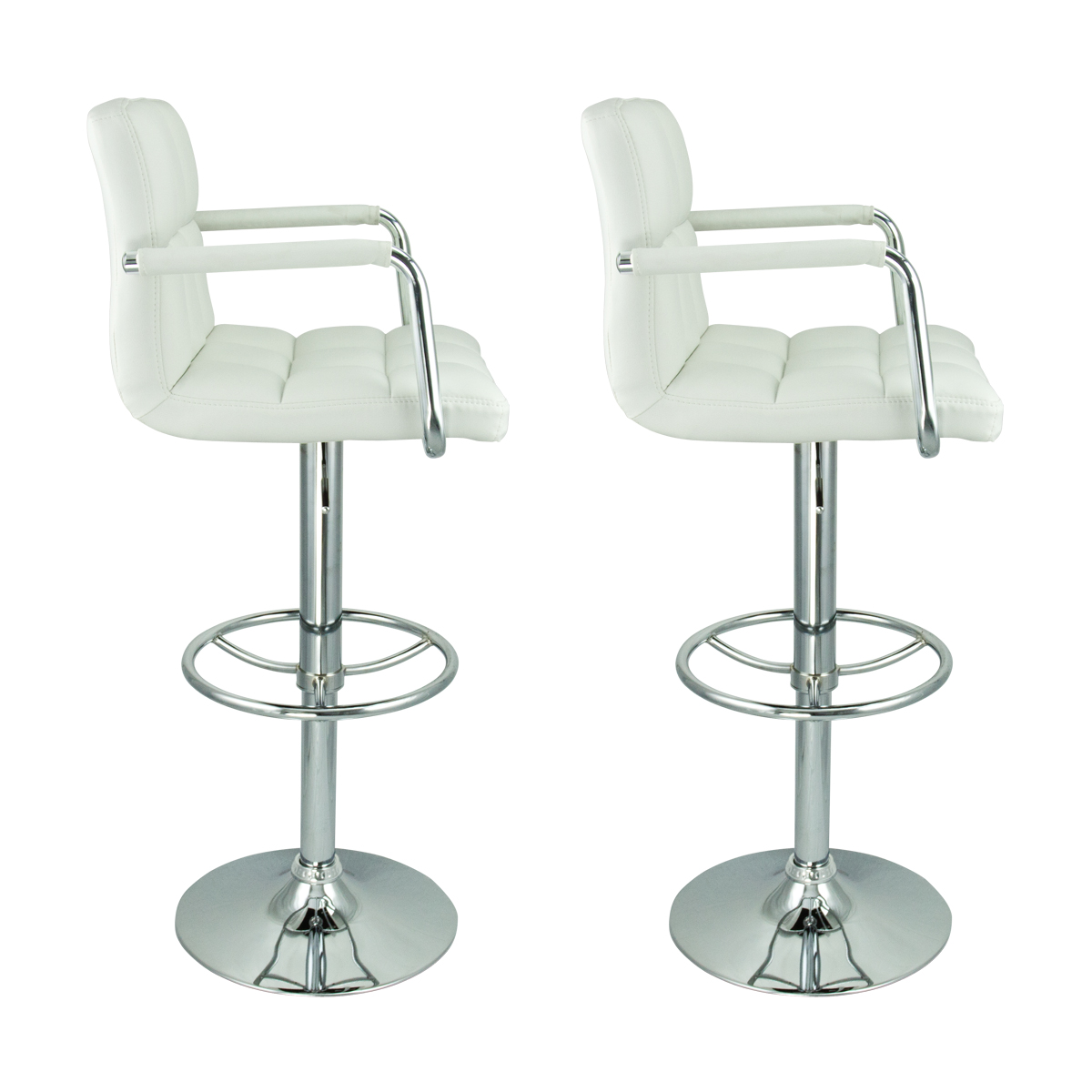 Modern White Bar Stools 2 Swivel White W Arm Pu Leather Modern Adjustable