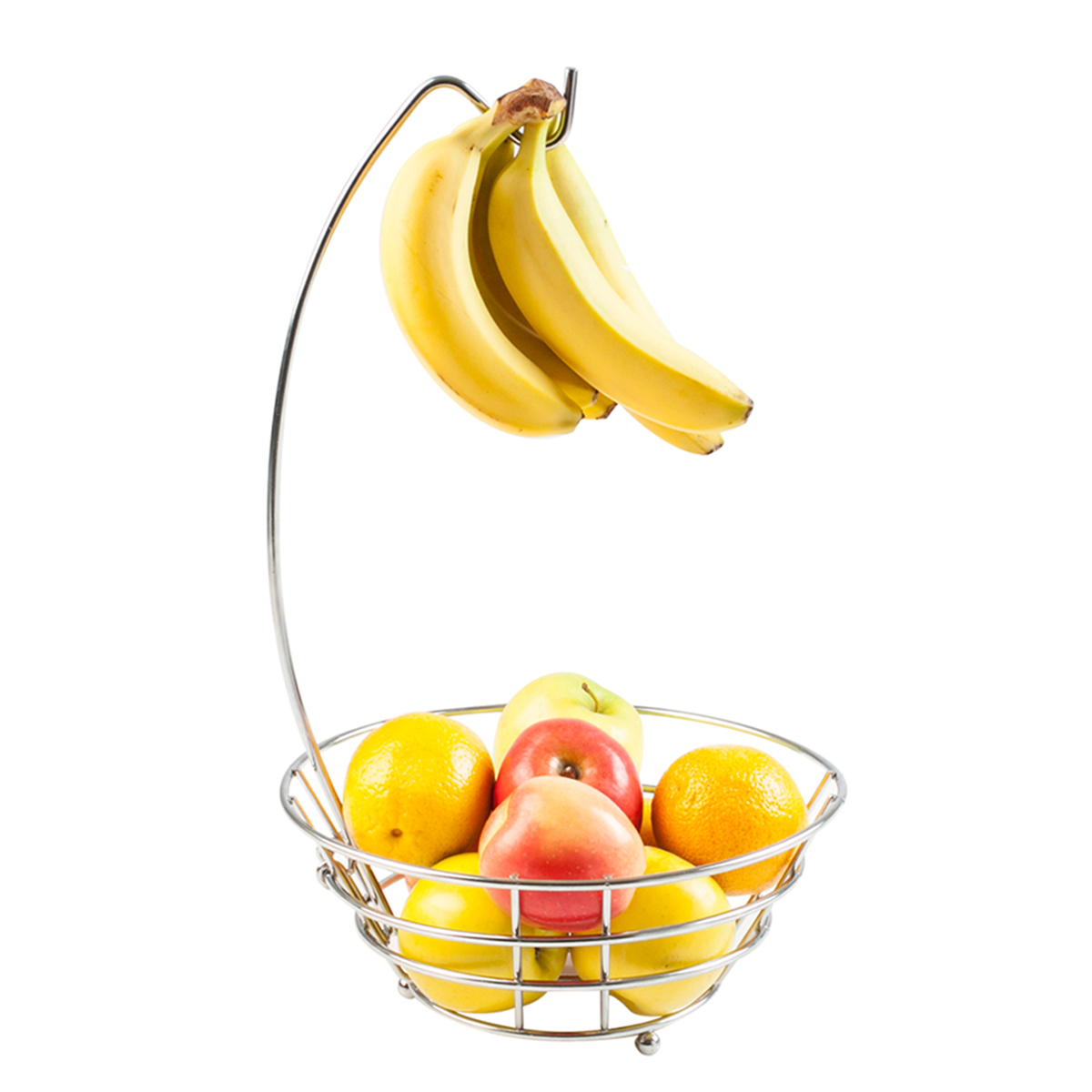 Table Top Fruit Basket 2 Metal Chrome Wire Banana Grape Hanger Kitchen Fruit