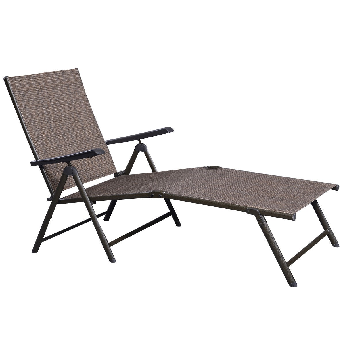 Outdoor Recliner Lounge Patio Furniture Textilene Adjustable Pool Chaise Lounge