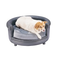 Chesterfield Faux Leather Large Dog Bed Designer Pet Sofa ...