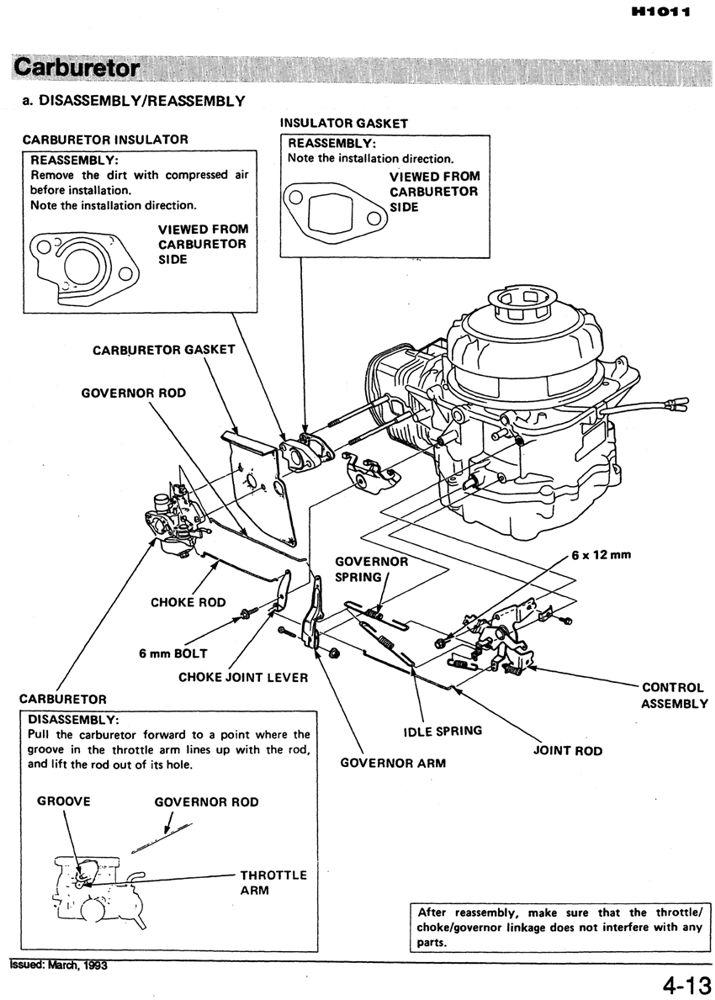 H1011S H1011R H1011HS Riding Mower Shop Manual Honda Power