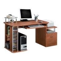 Deluxe Multi-Purpose File Cabinet Computer Desk - Mahogany ...