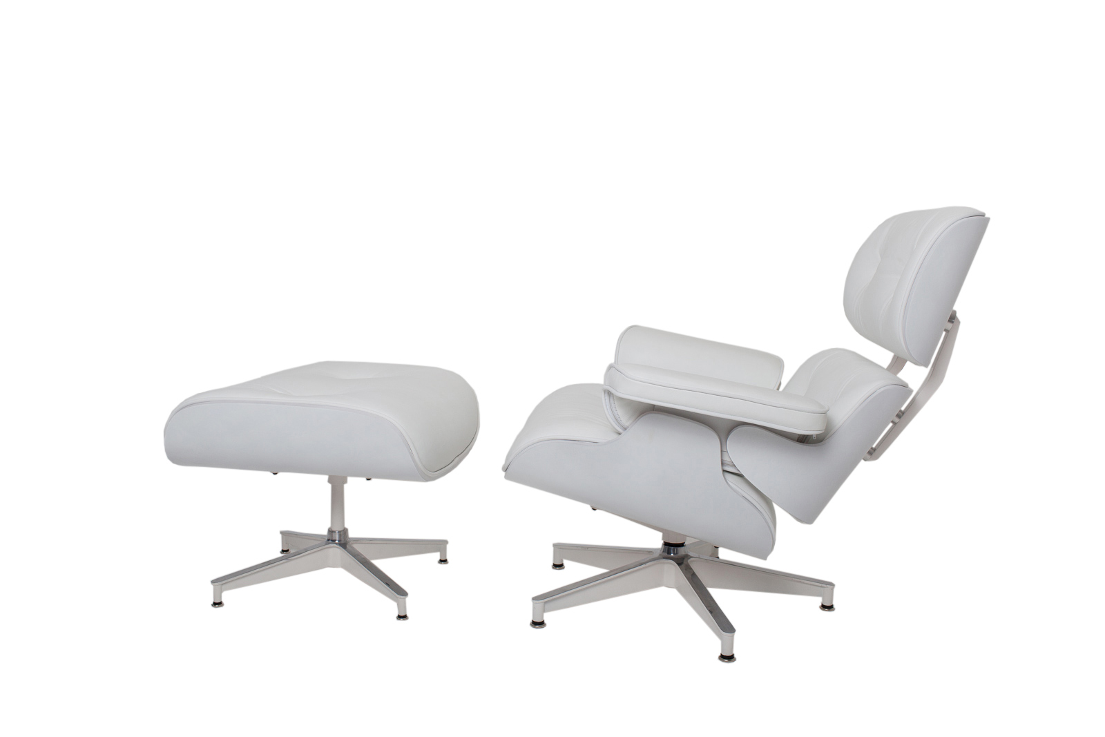 Eames Chair Replica Ebay Details About New White Leather White Wood Eames Style Lounge Chair Ottoman Set