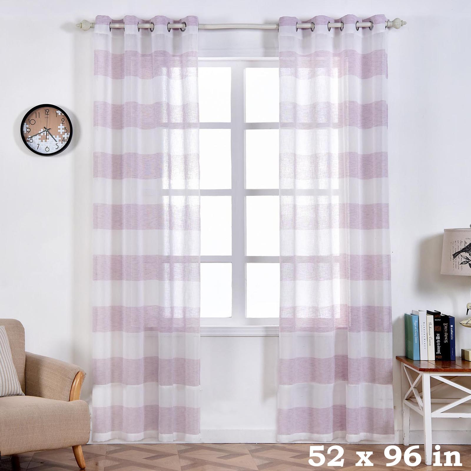 Lavender Sheer Curtains Details About 2 Pcs White And Lavender 52