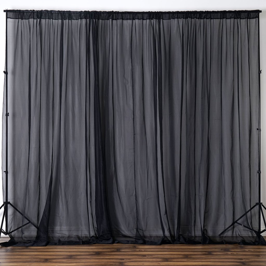 Black Voile Curtains Details About Black 10 X 10 Ft Voile Backdrop Curtains 2 Panels 5x10 Ft Home Party Decorations