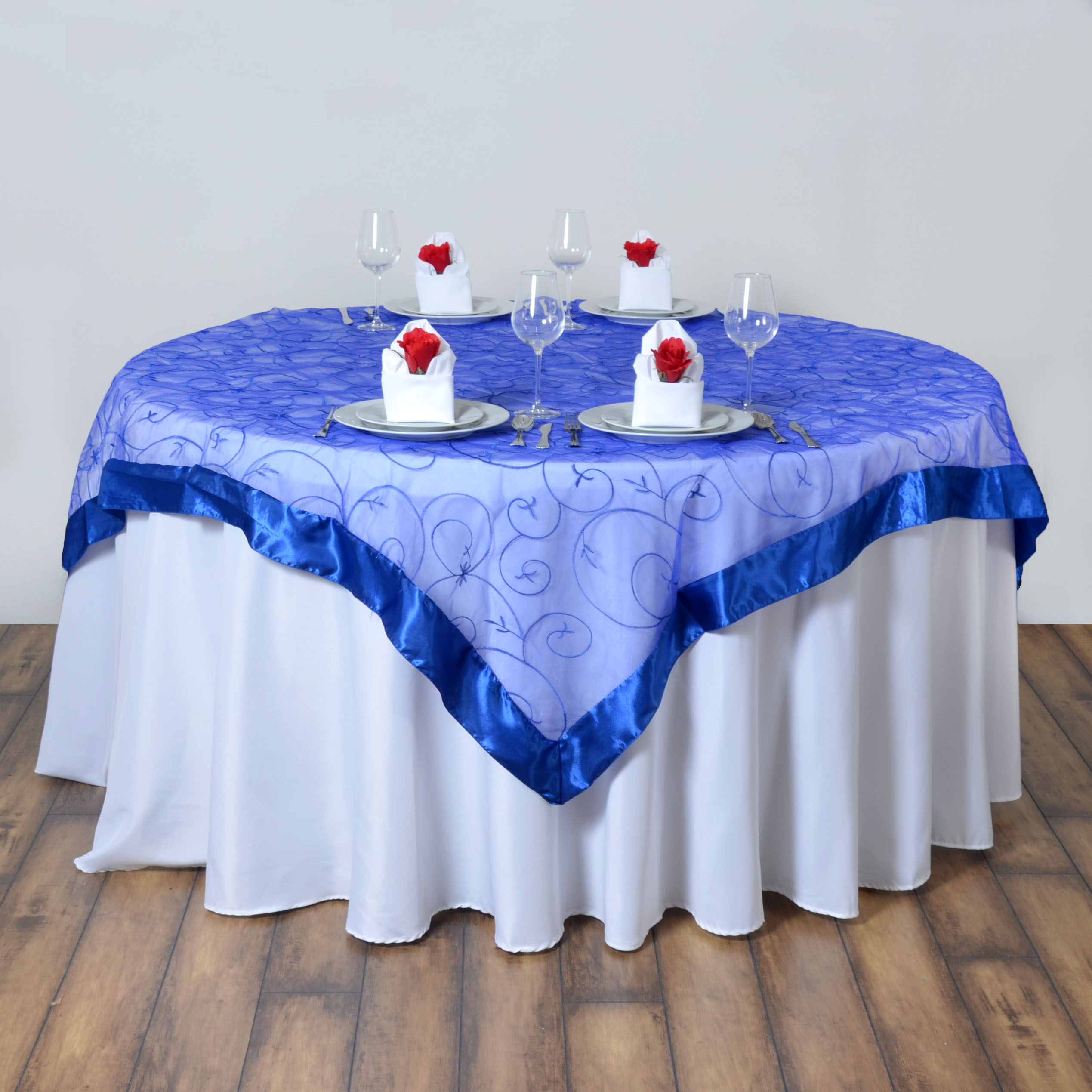 Royal Blue Embroidered Organza 60x60quot Square Table Overlay
