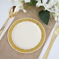 "Plastic IVORY with Gold Rim 10.25"" PLATES Disposable Party ..."