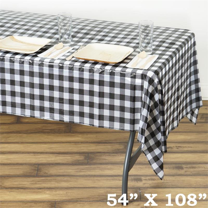 54 X 108quot Checkered Disposable Plastic Rectangular Table