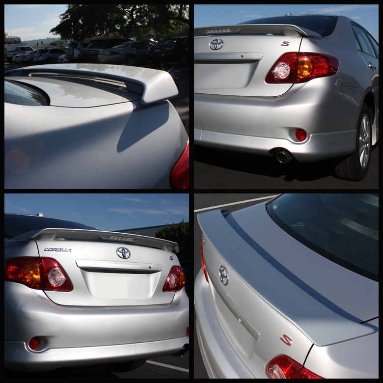 Plastic Primer 2009-2013 Toyota Corolla Sport Trunk Spoiler Wing With Led