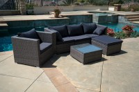 6PC Outdoor Patio Furniture Rattan Wicker Sectional Sofa ...