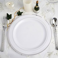 """Plastic 9"""" ROUND PLATES with Trim Party Wedding Catering ..."""
