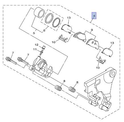 YAMAHA OEM REAR BRAKE CALIPER 13-17 RAIDER STRYKER RAIDER S 5C7