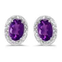 10k White Gold Oval Amethyst And Diamond Earrings | eBay