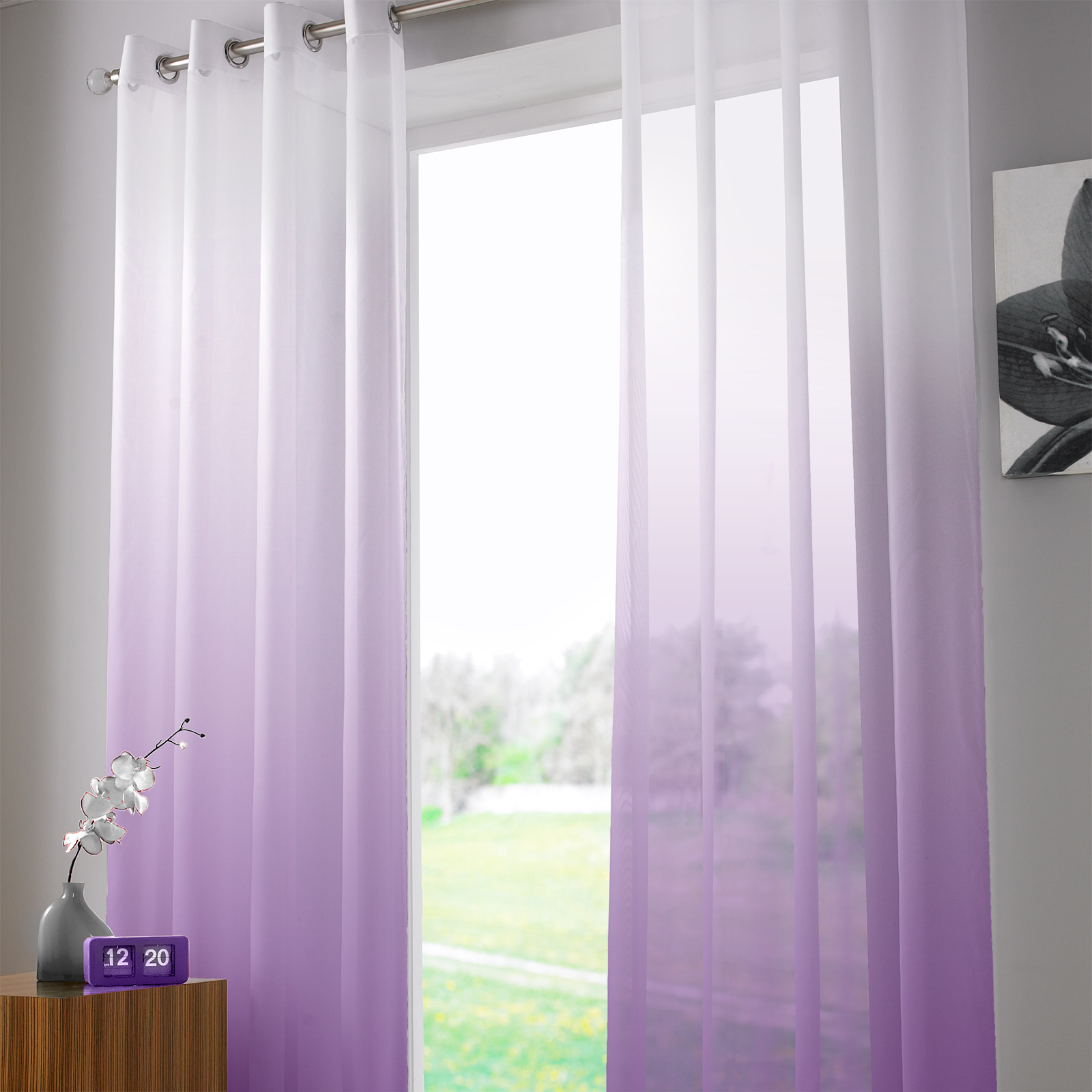 Voile Ombre Two Tone Ombre Ring Top Sheer Voile Curtain Panel 58x90