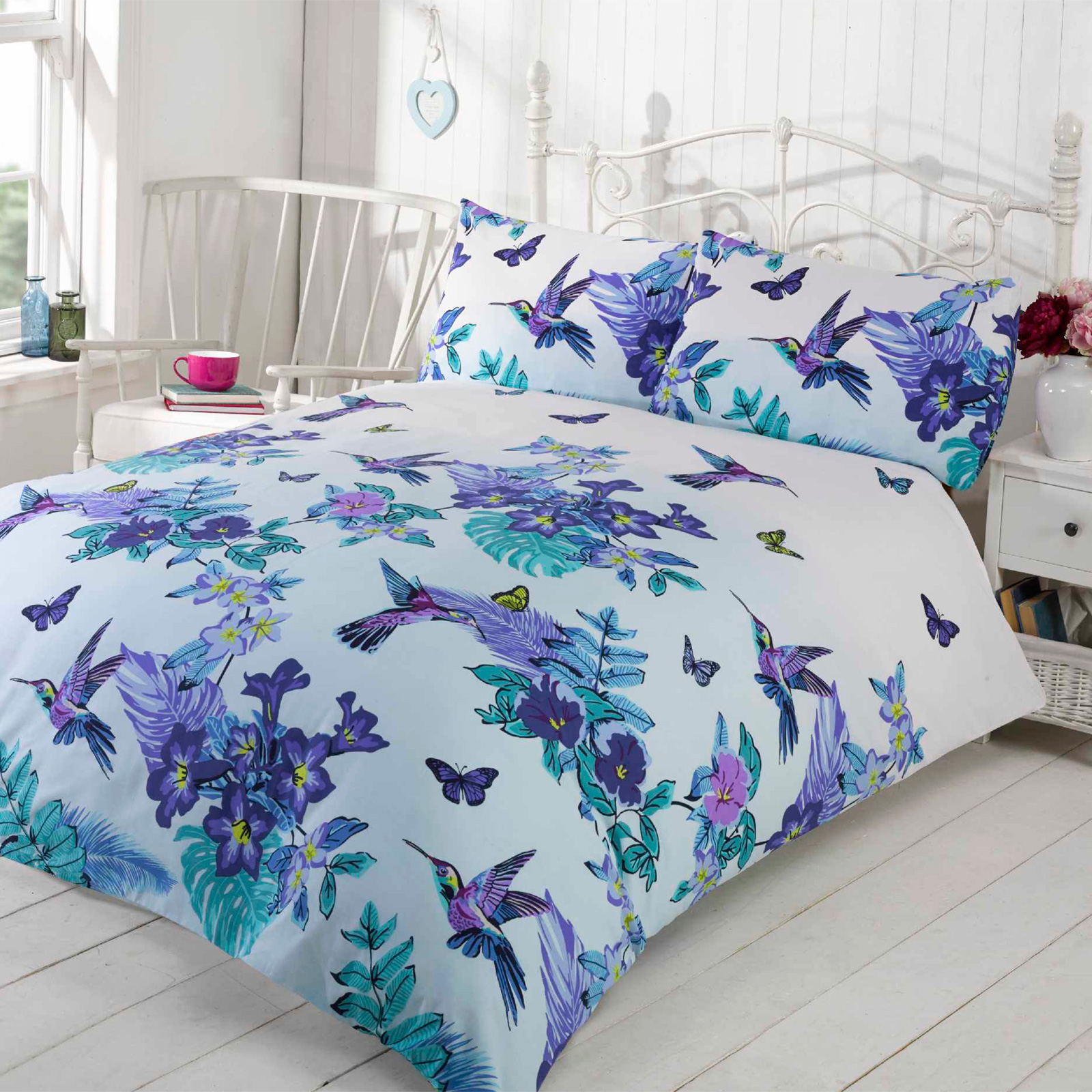 Pretty Bed Covers Tropical Nature Humming Birds Duvet Cover Set With Pretty