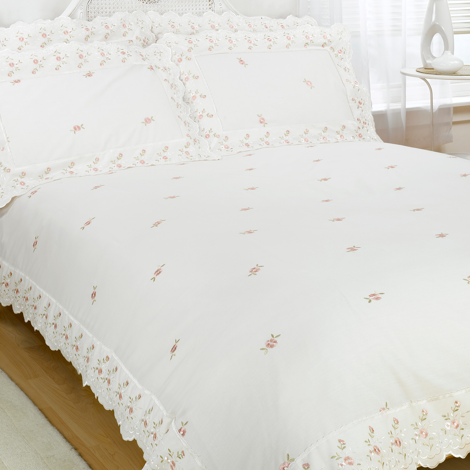 Vintage Linen Quilt Cover Vintage Lace Luxury Cotton Blend Embroidered Duvet Quilt