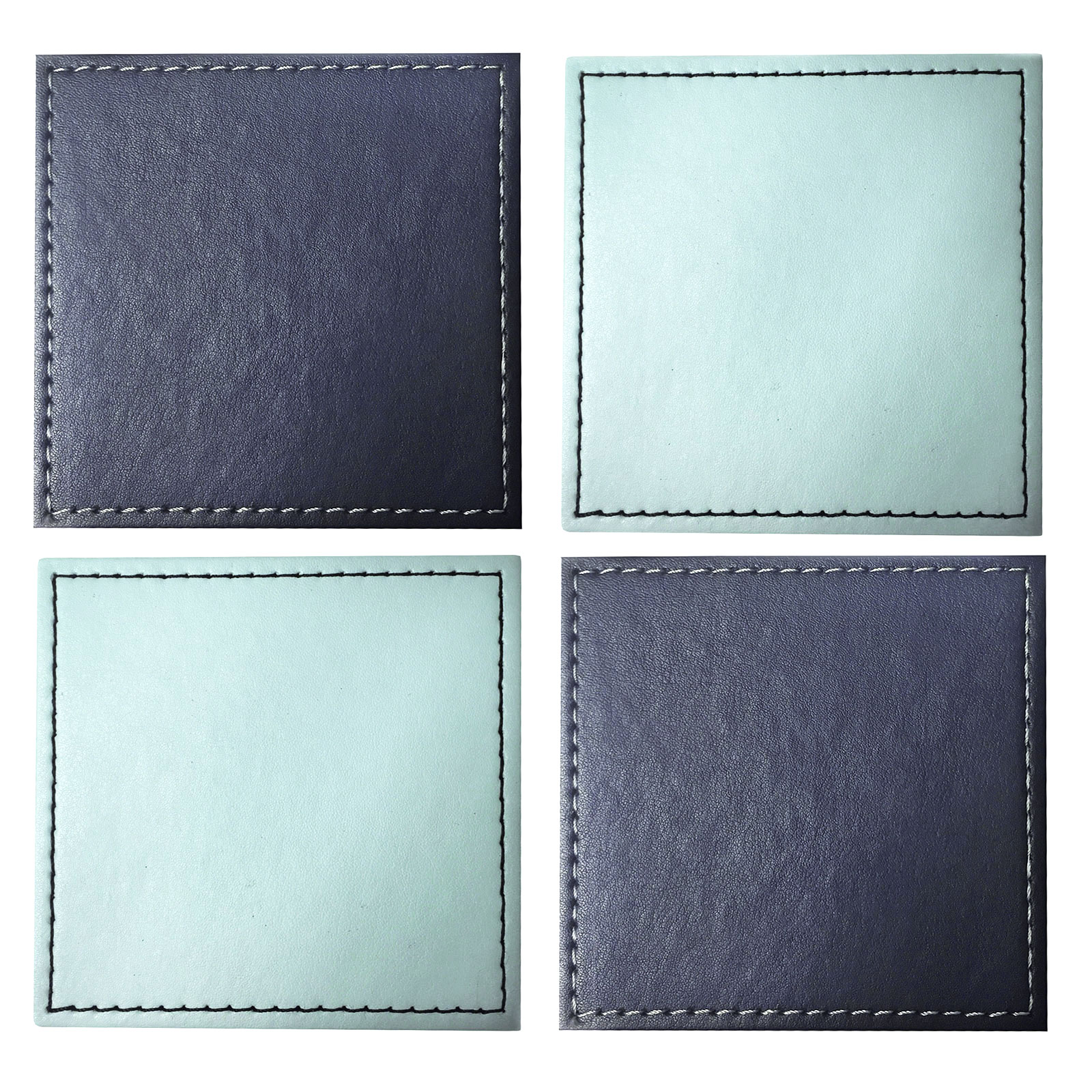 Square Coasters For Drinks Reversible Square Faux Leather Drink Coaster Mats Set Of