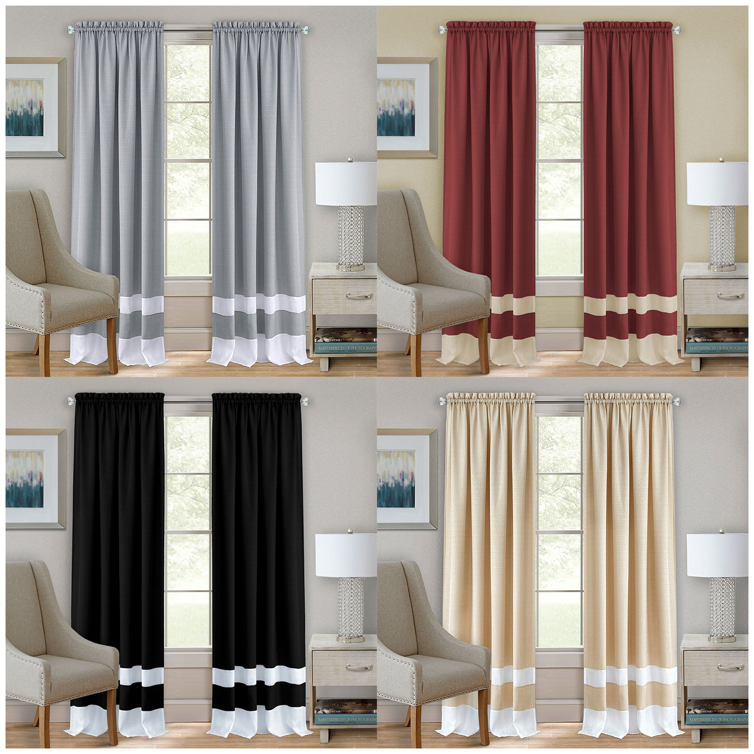Curtain For Double Window Details About Modern Two Tone Window Curtain Double Layer 2 Pack Panels Set Kitchen Or Home