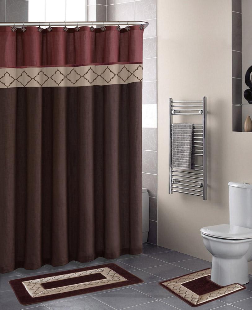 Designer shower curtain - Contemporary Bath Shower Curtain 15 Pcs Modern Bathroom