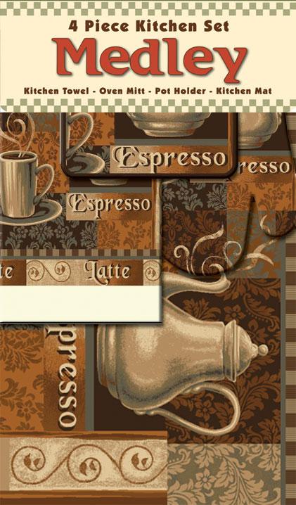 Coffee Cup Kettle Leaves Mat Towel Oven Mitt Pot Holder 4