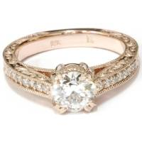 Vintage Diamond Engagement Antique Hand Engraved 1.15Ct ...