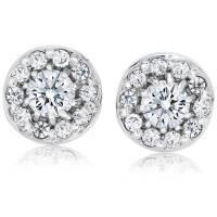 1/2ct Halo Diamond Studs 14K White Gold   eBay