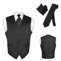 Men's Dress Vest NeckTie Hanky Solid Color Waistcoat Neck ...