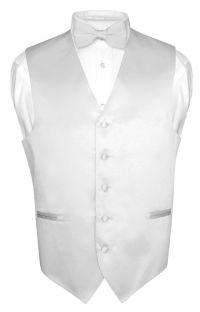 Men's Dress Vest BOWTie SILVER GRAY Bow Tie Set for Suit ...