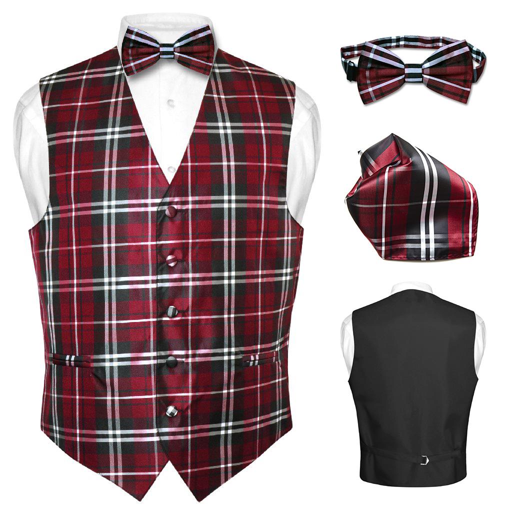 Men's Plaid Dress Vest BOWTie BROWN Blue RED GRAY PURPLE