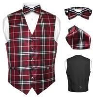 Men's Plaid Dress Vest BOWTie BROWN Blue RED GRAY PURPLE ...
