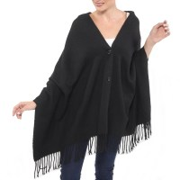 Alpine Swiss Women's Button Up Shawl Poncho Fringe Cape ...