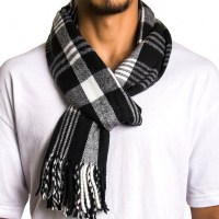 Alpine Swiss Mens Scarves Winter Scarf Plaid Long Stole