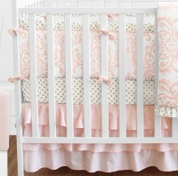 Boutique Elegant Gold Polka Dots Pink & White Damask Baby