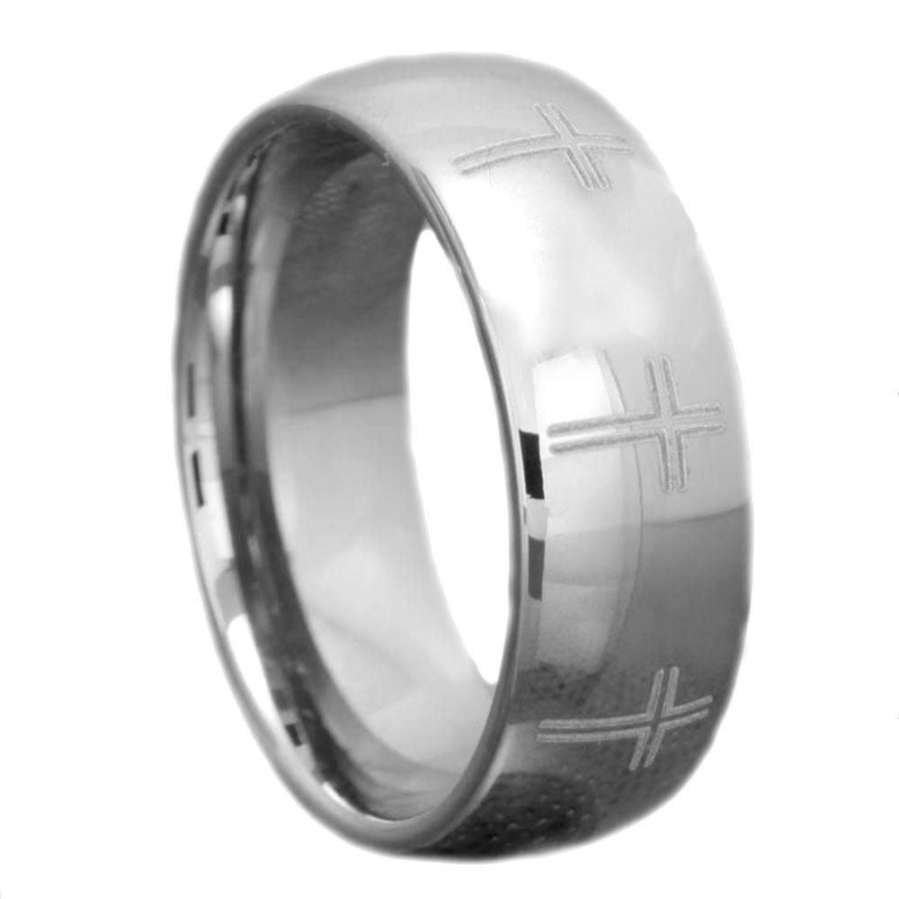 mens wedding bands christian vitalium wedding band carbide silver polish domed christian cross etch men s wedding band