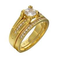 Wedding Ring Set Stainless Steel Cz Cubic Zirconia Titano ...