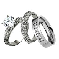 His Hers 3 Piece Men Women Stainless Steel Wedding ...