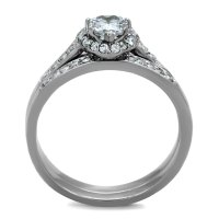 Stainless Steel Women's Engagement Wedding Ring Set AAA CZ ...