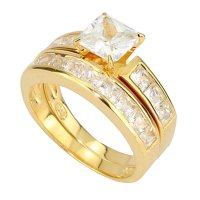 Princess Cubic Zirconia Gold Over Silver Engagement ...