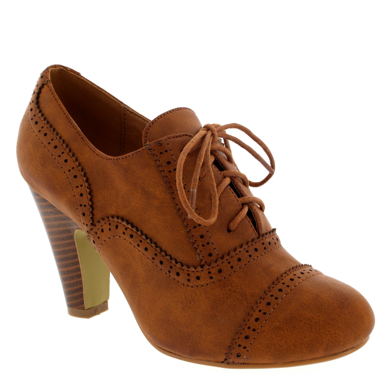 Womens Mary Jane Brogue Lace Up Ankle Boot Cuban Heels